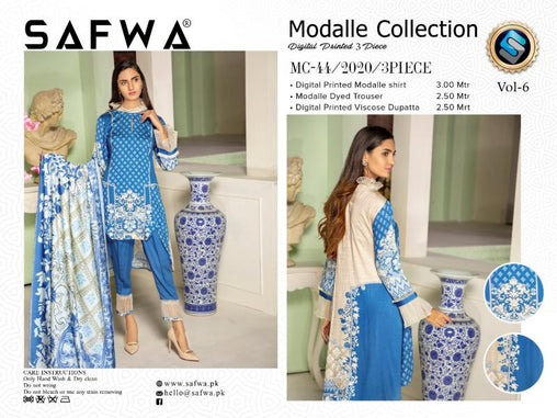 MC 44 - SAFWA DIGITAL MODALLE 3 PIECE PRINT COLLECTION -SHIRT Trouser and Duptta |SAFWA DRESS DESIGN| DRESSES| PAKISTANI DRESSES| SAFWA -SAFWA Brand Pakistan online shopping for Designer Dresses