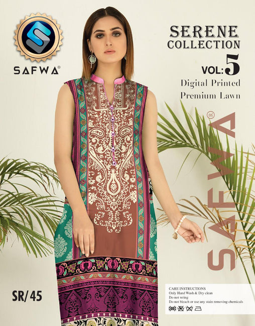 SP-45-SAFWA PREMIUM LAWN-SERENE PLUS COLLECTION-DIGITAL 2 PIECE - Safwa-Pakistani Dresses-Dresses-Kurti-Shop Online