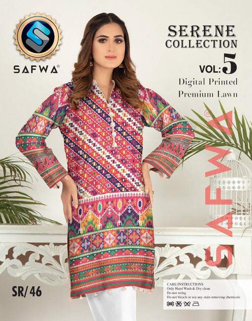 SP-46-SAFWA PREMIUM LAWN-SERENE PLUS COLLECTION-DIGITAL 2 PIECE - Safwa-Pakistani Dresses-Dresses-Kurti-Shop Online