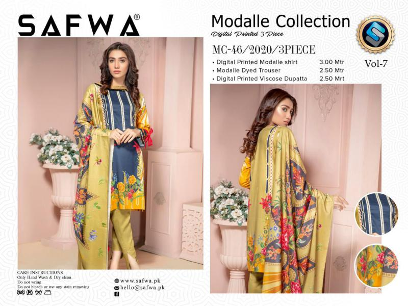MC 46 - SAFWA DIGITAL MODALLE 3 PIECE PRINT COLLECTION -SHIRT Trouser and Duptta |SAFWA DRESS DESIGN| DRESSES| PAKISTANI DRESSES| SAFWA -SAFWA Brand Pakistan online shopping for Designer Dresses