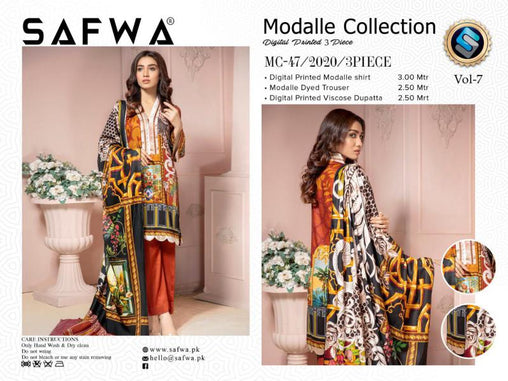 MC 47 - SAFWA DIGITAL MODALLE 3 PIECE PRINT COLLECTION -SHIRT Trouser and Duptta |SAFWA DRESS DESIGN| DRESSES| PAKISTANI DRESSES| SAFWA -SAFWA Brand Pakistan online shopping for Designer Dresses