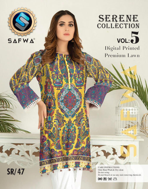 SP-47-SAFWA PREMIUM LAWN-SERENE PLUS COLLECTION-DIGITAL 2 PIECE - Safwa-Pakistani Dresses-Dresses-Kurti-Shop Online