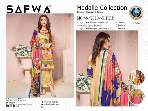 MC 48 - SAFWA DIGITAL MODALLE 3 PIECE PRINT COLLECTION -SHIRT Trouser and Duptta |SAFWA DRESS DESIGN| DRESSES| PAKISTANI DRESSES| SAFWA -SAFWA Brand Pakistan online shopping for Designer Dresses