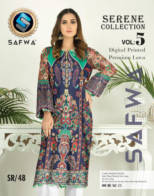 SP-48-SAFWA PREMIUM LAWN-SERENE PLUS COLLECTION-DIGITAL 2 PIECE - Safwa-Pakistani Dresses-Dresses-Kurti-Shop Online