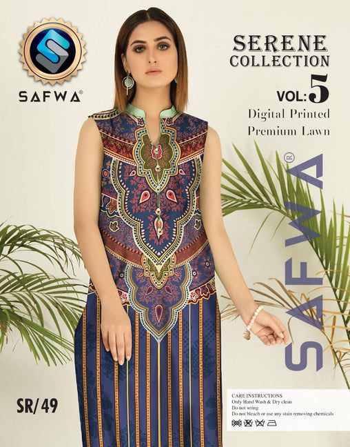 SP-49-SAFWA PREMIUM LAWN-SERENE PLUS COLLECTION-DIGITAL 2 PIECE - Safwa-Pakistani Dresses-Dresses-Kurti-Shop Online