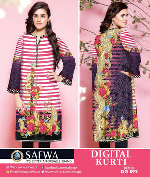 DG892 - SAFWA DIGITAL COTTON PRINT KURTI COLLECTION -SHIRT KURTI KAMEEZ