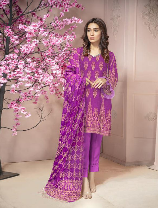 JC-02-SAFWA JACQUARD KARANDI/COTTON COLLECTION-3 PIECE DRESS - Safwa |Dresses| Pakistani Dresses| Fashion|Online Shopping