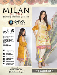 MS-509 - SAFWA - MILAN COLLECTION - EMBROIDERED - 3 PIECE SUIT - LAWN - Three Piece Suit - safwa