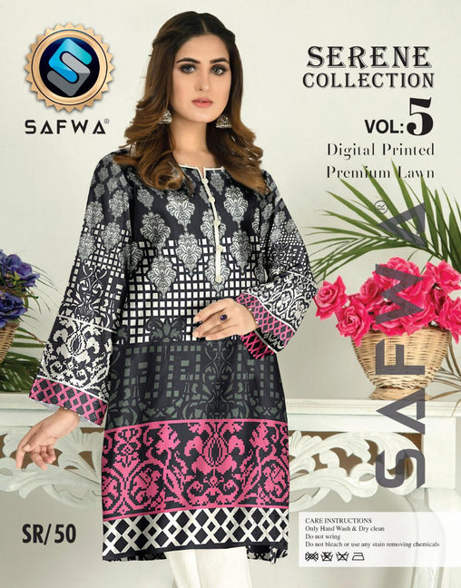 SP-50-SAFWA PREMIUM LAWN-SERENE PLUS COLLECTION-DIGITAL 2 PIECE - Safwa-Pakistani Dresses-Dresses-Kurti-Shop Online