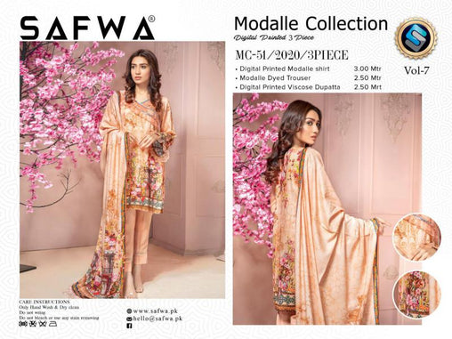 MC 51 - SAFWA DIGITAL MODALLE 3 PIECE PRINT COLLECTION -SHIRT Trouser and Duptta |SAFWA DRESS DESIGN| DRESSES| PAKISTANI DRESSES| SAFWA -SAFWA Brand Pakistan online shopping for Designer Dresses