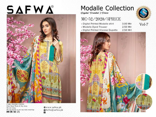 MC 52 - SAFWA DIGITAL MODALLE 3 PIECE PRINT COLLECTION -SHIRT Trouser and Duptta |SAFWA DRESS DESIGN| DRESSES| PAKISTANI DRESSES| SAFWA -SAFWA Brand Pakistan online shopping for Designer Dresses
