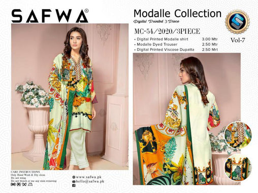MC 54 - SAFWA DIGITAL MODALLE 3 PIECE PRINT COLLECTION -SHIRT Trouser and Duptta |SAFWA DRESS DESIGN| DRESSES| PAKISTANI DRESSES| SAFWA -SAFWA Brand Pakistan online shopping for Designer Dresses