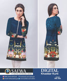 DG556 - SAFWA DIGITAL KHADDAR PRINT KURTI COLLECTION -SHIRT KURTI KAMEEZ