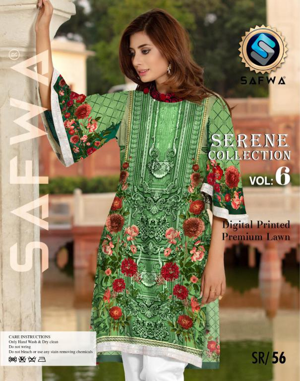 SP-56-SAFWA PREMIUM LAWN-SERENE PLUS COLLECTION-DIGITAL 2 PIECE - Safwa-Pakistani Dresses-Dresses-Kurti-Shop Online