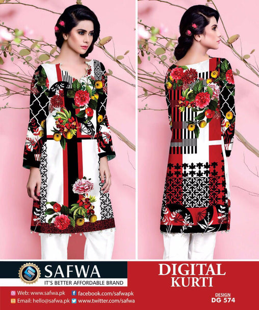 SAFWA DIGITAL COTTON PRINT KURTI COLLECTION -SHIRT KURTI KAMEEZ, Shirt-Kurti, SAFWA, SAFWA Brand - Pakistani Dresses | Kurtis | Shalwar Kameez | Online Shopping | Lawn Dress| Karandi| lAWN| cotton