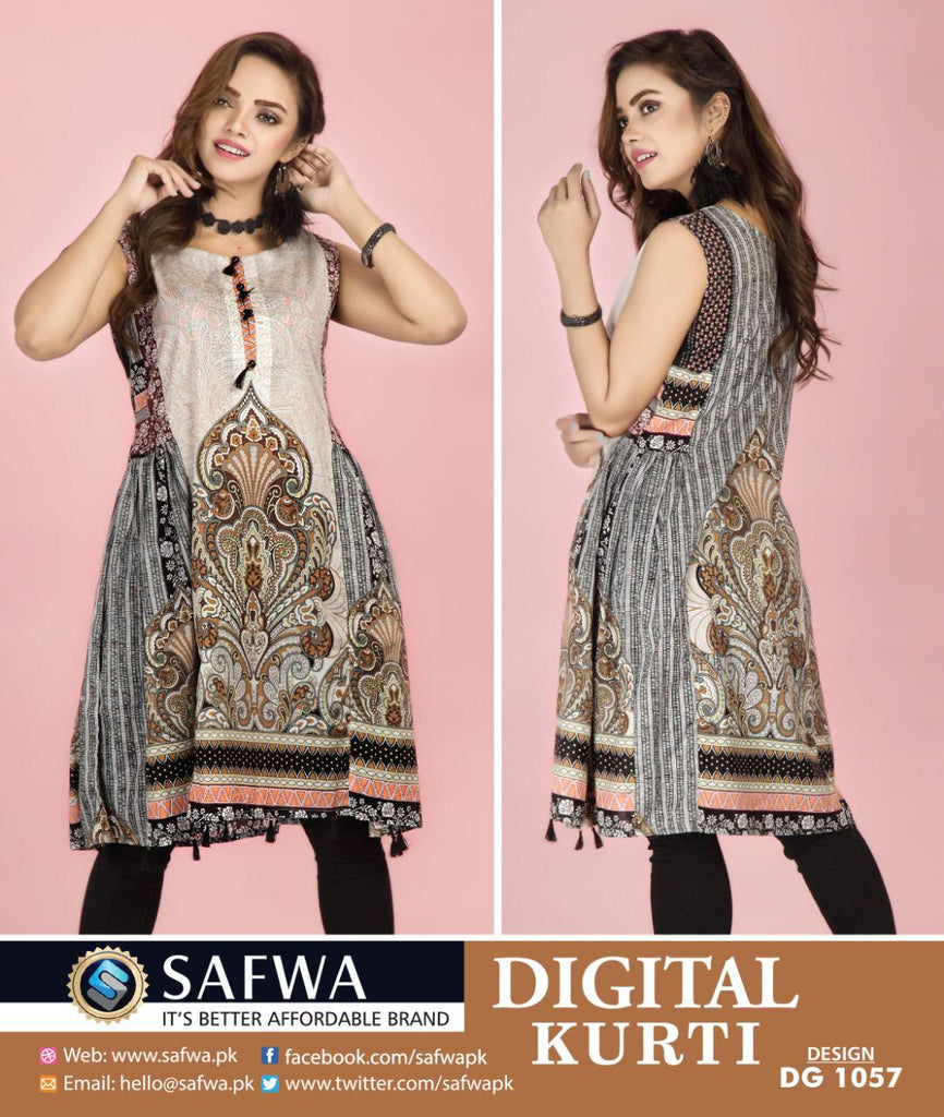 DG1057- SAFWA DIGITAL COTTON PRINT KURTI COLLECTION -SHIRT KURTI KAMEEZ