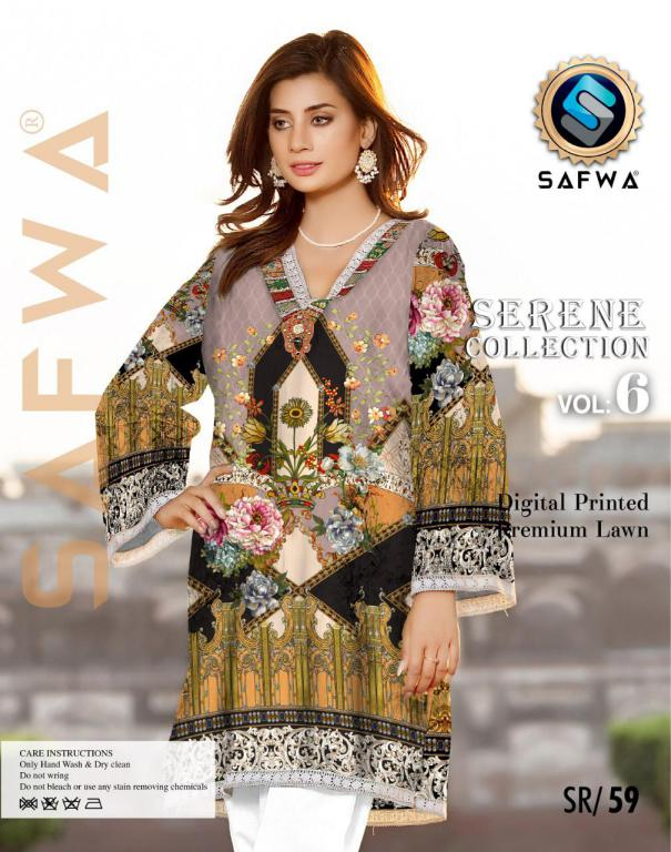 SP-59-SAFWA PREMIUM LAWN-SERENE PLUS COLLECTION-DIGITAL 2 PIECE - Safwa-Pakistani Dresses-Dresses-Kurti-Shop Online