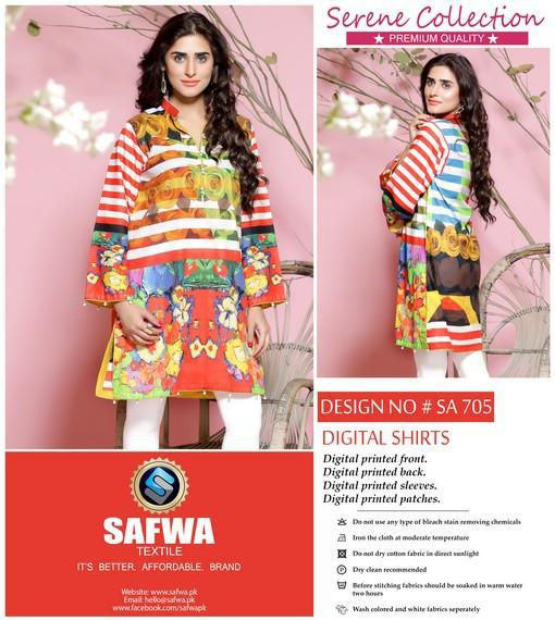 SA-705 - SAFWA LAWN - SERENE COLLECTION - DIGITAL  - SHIRTS, Shirt-Kurti, SAFWA, SAFWA Brand - Pakistani Dresses | Kurtis | Shalwar Kameez | Online Shopping | Lawn Dress