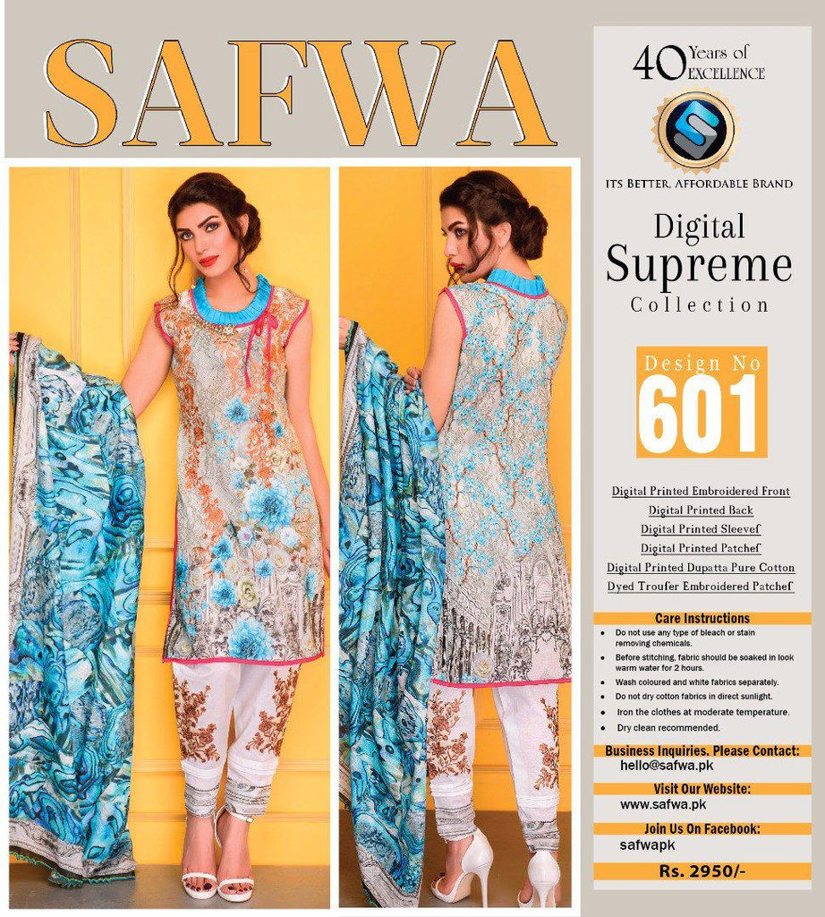 D-601 - SAFWA DIGITAL - SUPREME COLLECTION - EMBROIDERED - 3 PIECE SUIT - LAWN, Three Piece Suit, SAFWA, SAFWA Brand - Pakistani Dresses | Kurtis | Shalwar Kameez | Online Shopping | Lawn Dress