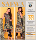 D-602 - SAFWA DIGITAL - SUPREME COLLECTION - EMBROIDERED - 3 PIECE SUIT - LAWN