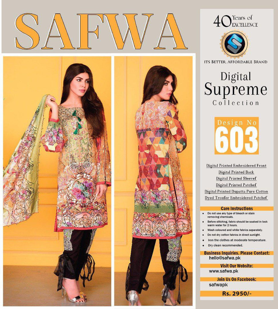 D-603 - SAFWA DIGITAL - SUPREME COLLECTION - EMBROIDERED - 3 PIECE SUIT - LAWN, Three Piece Suit, SAFWA, SAFWA Brand - Pakistani Dresses | Kurtis | Shalwar Kameez | Online Shopping | Lawn Dress