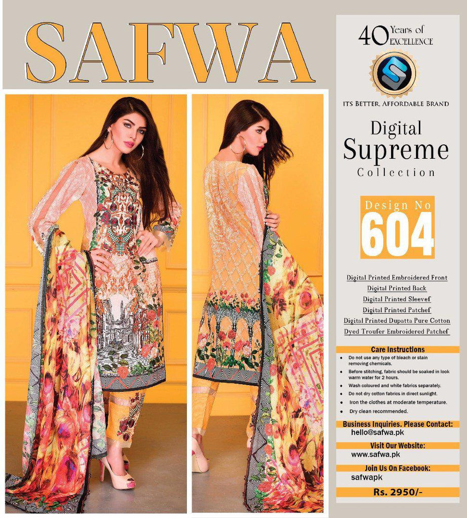 D-604 - SAFWA DIGITAL - SUPREME COLLECTION - EMBROIDERED - 3 PIECE SUIT - LAWN, Three Piece Suit, SAFWA, SAFWA Brand - Pakistani Dresses | Kurtis | Shalwar Kameez | Online Shopping | Lawn Dress