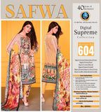 D-604 - SAFWA DIGITAL - SUPREME COLLECTION - EMBROIDERED - 3 PIECE SUIT - LAWN