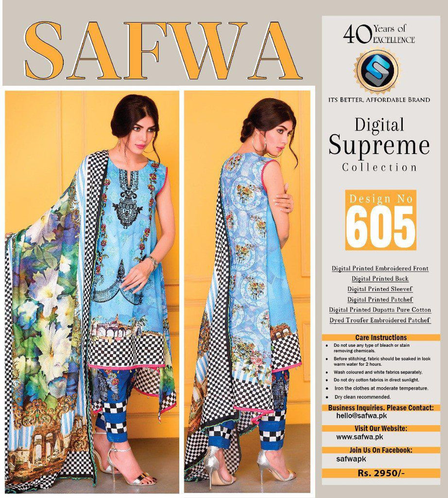 D-605 - SAFWA DIGITAL - SUPREME COLLECTION - EMBROIDERED - 3 PIECE SUIT - LAWN, Three Piece Suit, SAFWA, SAFWA Brand - Pakistani Dresses | Kurtis | Shalwar Kameez | Online Shopping | Lawn Dress