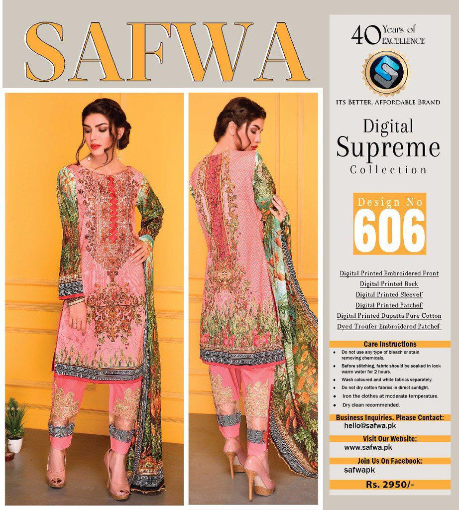 D-606 - SAFWA DIGITAL - SUPREME COLLECTION - EMBROIDERED - 3 PIECE SUIT - LAWN, Three Piece Suit, SAFWA, SAFWA Brand - Pakistani Dresses | Kurtis | Shalwar Kameez | Online Shopping | Lawn Dress
