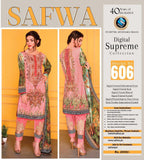 D-606 - SAFWA DIGITAL - SUPREME COLLECTION - EMBROIDERED - 3 PIECE SUIT - LAWN