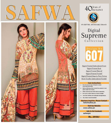 D-607 - SAFWA DIGITAL - SUPREME COLLECTION - EMBROIDERED - 3 PIECE SUIT - LAWN