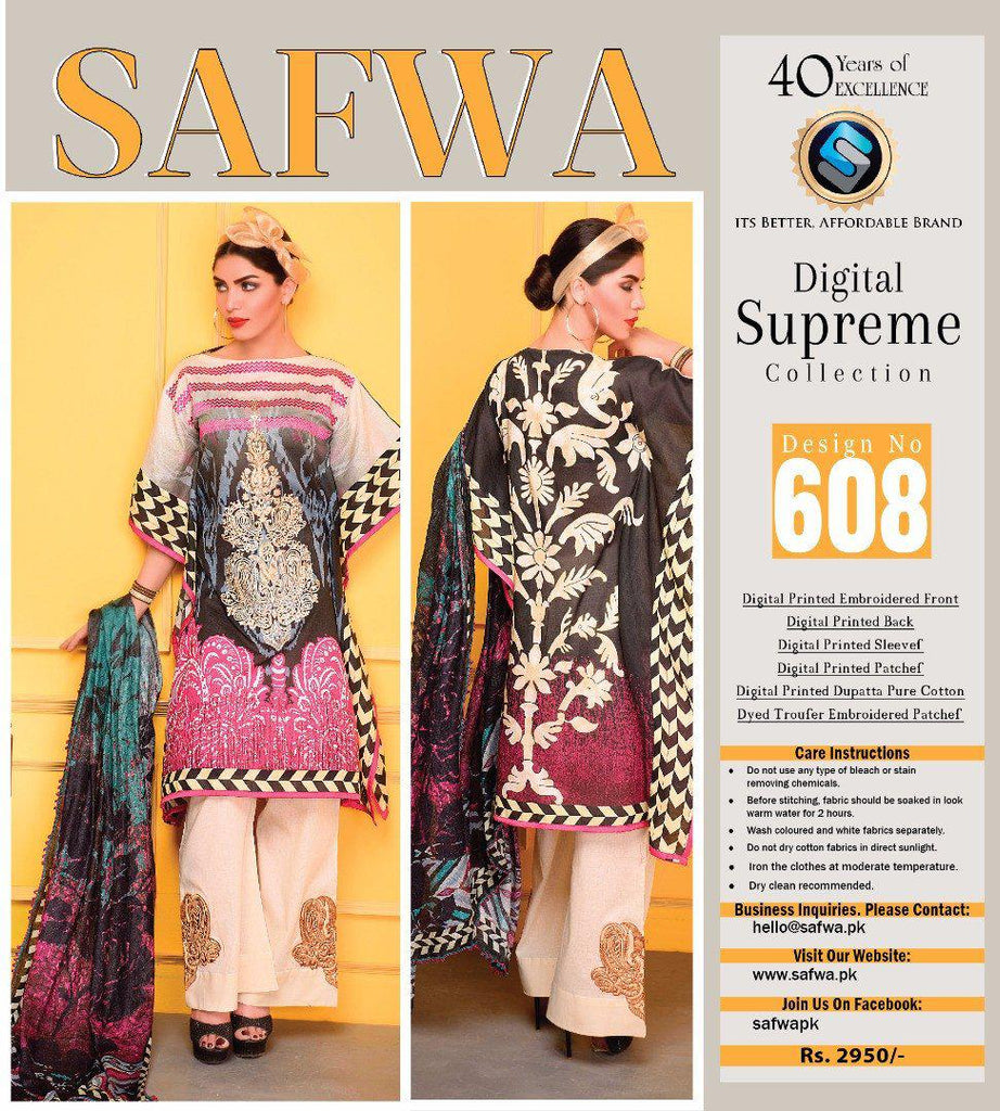 D-608 - SAFWA DIGITAL - SUPREME COLLECTION - EMBROIDERED - 3 PIECE SUIT - LAWN, Three Piece Suit, SAFWA, SAFWA Brand - Pakistani Dresses | Kurtis | Shalwar Kameez | Online Shopping | Lawn Dress