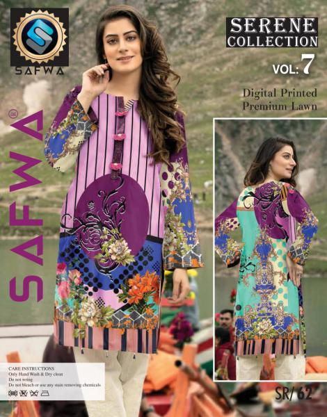 SP-62-SAFWA PREMIUM LAWN-SERENE PLUS COLLECTION-DIGITAL 2 PIECE - Safwa-Pakistani Dresses-Dresses-Kurti-Shop Online