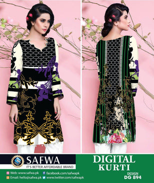 DG894 - SAFWA DIGITAL COTTON PRINT KURTI COLLECTION -SHIRT KURTI KAMEEZ