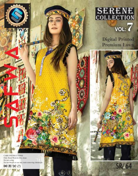 SP-64-SAFWA PREMIUM LAWN-SERENE PLUS COLLECTION-DIGITAL 2 PIECE - Safwa-Pakistani Dresses-Dresses-Kurti-Shop Online