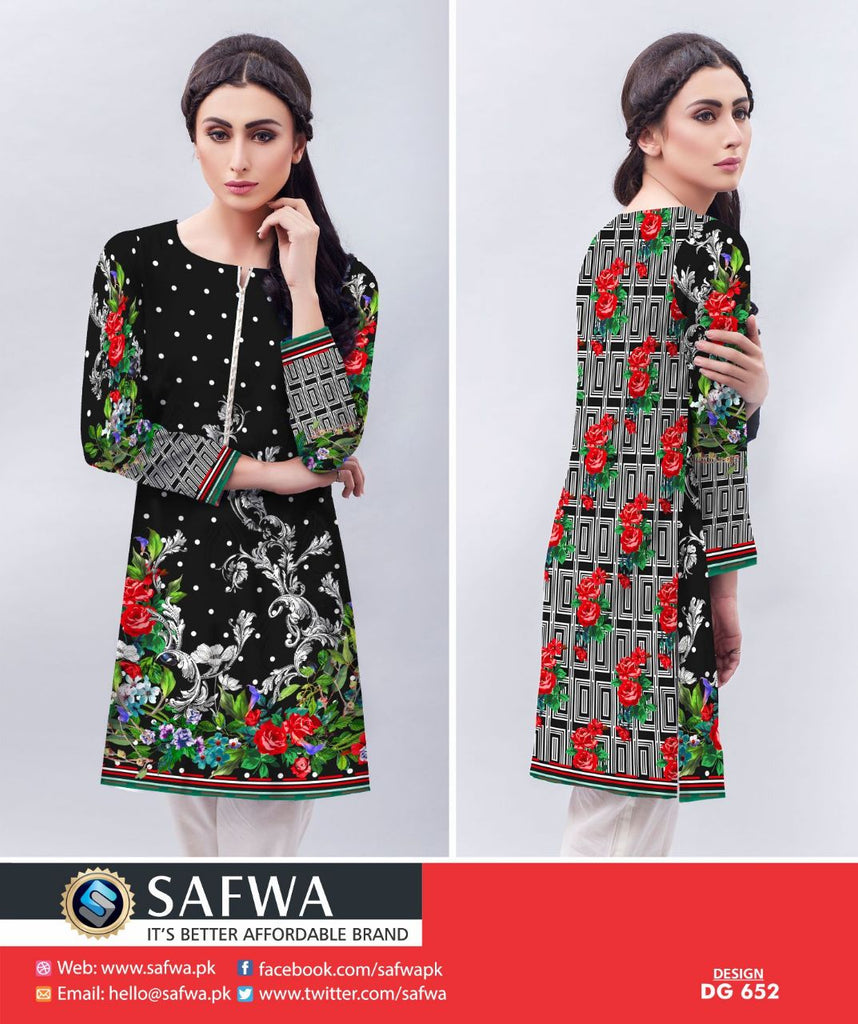 DG652 - SAFWA DIGITAL KHADDAR PRINT KURTI COLLECTION -SHIRT KURTI KAMEEZ