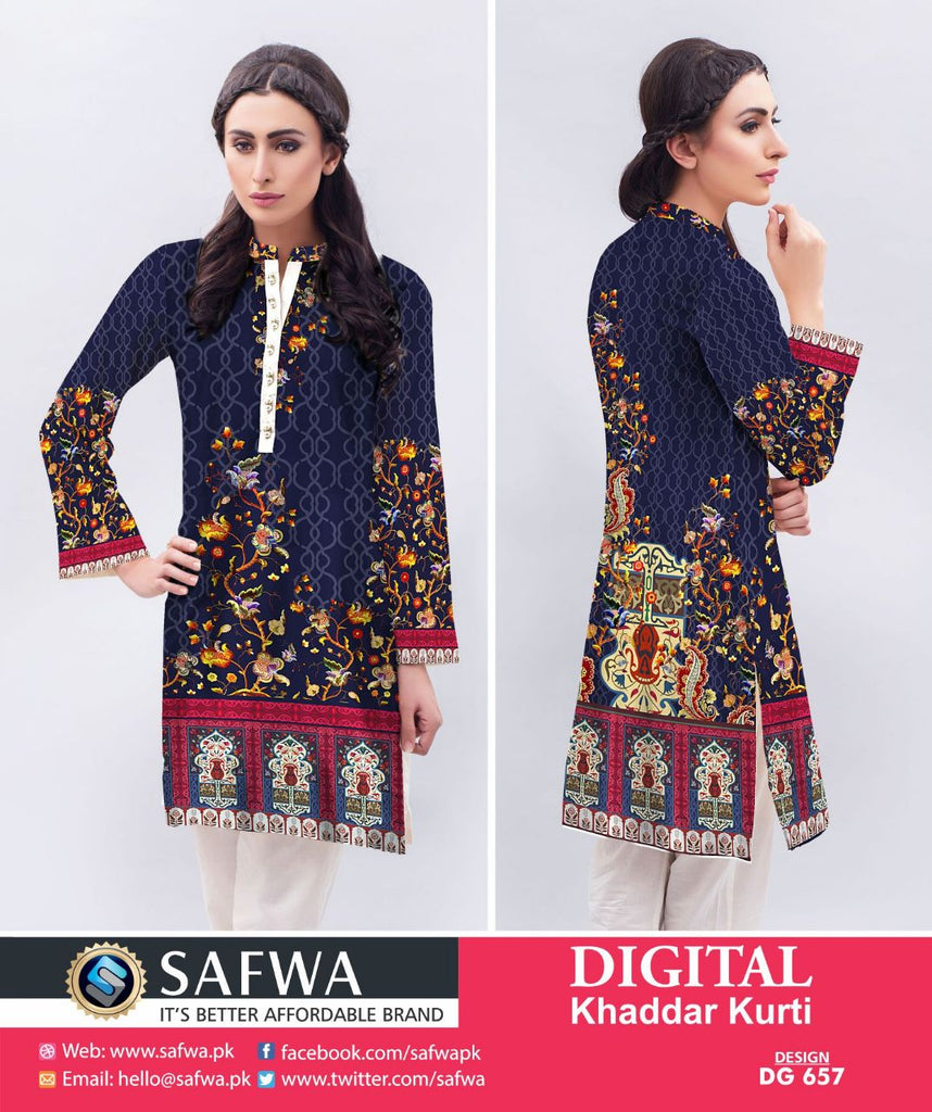 DG657 - SAFWA DIGITAL KHADDAR PRINT KURTI COLLECTION -SHIRT KURTI KAMEEZ