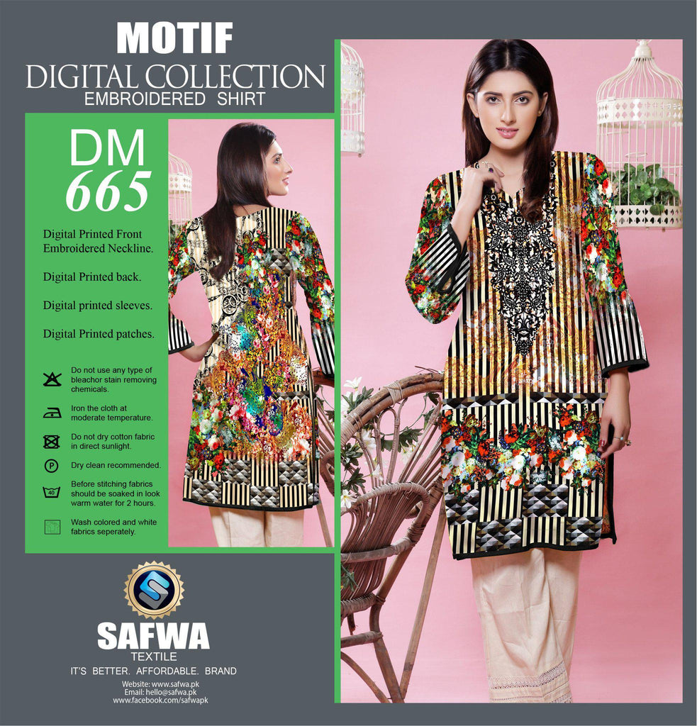 DIGITAL EMBROIDERY SHIRT KURTI KAMEEZ - COTTON - SAFWA MOTIF COLLECTION - DM665, Shirt-Kurti, SAFWA, SAFWA Brand - Pakistani Dresses | Kurtis | Shalwar Kameez | Online Shopping | Lawn Dress