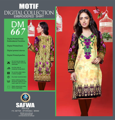 DIGITAL EMBROIDERY SHIRT KURTI KAMEEZ - COTTON - SAFWA MOTIF COLLECTION - DM667