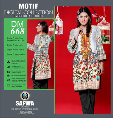 DIGITAL EMBROIDERY SHIRT KURTI KAMEEZ - COTTON - SAFWA MOTIF COLLECTION - DM668