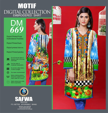 DIGITAL EMBROIDERY SHIRT KURTI KAMEEZ - COTTON - SAFWA MOTIF COLLECTION - DM669