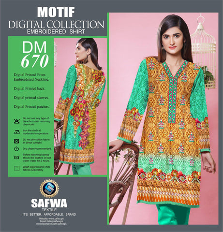 DIGITAL EMBROIDERY SHIRT KURTI KAMEEZ - COTTON - SAFWA MOTIF COLLECTION - DM670