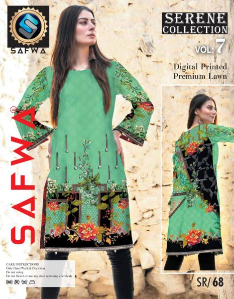 SP-68-SAFWA PREMIUM LAWN-SERENE PLUS COLLECTION-DIGITAL 2 PIECE - Safwa-Pakistani Dresses-Dresses-Kurti-Shop Online