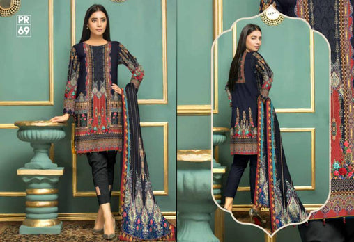 PR-69 SAFWA DRESS DESIGN, DRESSES, PAKISTANI DRESSES, PRAHA COLLECTION - 3 PIECE SUIT 2019-Three Piece Suit-SAFWA -SAFWA Brand Pakistan online shopping for Designer Dresses