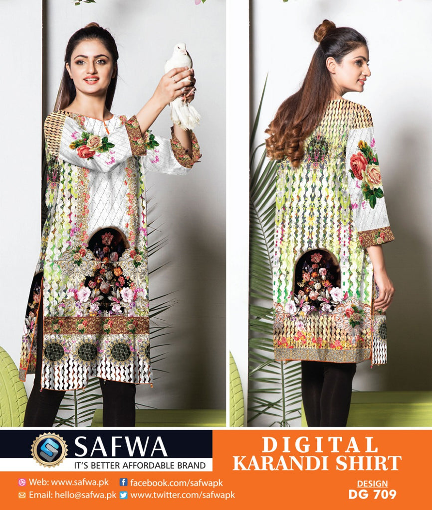 DG709 - SAFWA DIGITAL KARANDI PRINT KURTI COLLECTION -SHIRT KURTI KAMEEZ