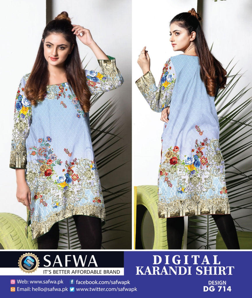 DG714 - SAFWA DIGITAL KARANDI PRINT KURTI COLLECTION -SHIRT KURTI KAMEEZ