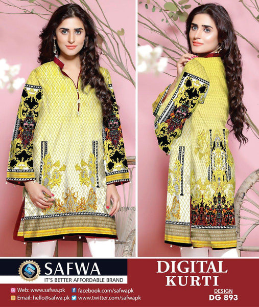SAFWA DRESS DESIGN, DRESSES, PAKISTANI DRESSES, DG893 - SAFWA DIGITAL COTTON PRINT KURTI COLLECTION -SHIRT KURTI KAMEEZ-Shirt-Kurti-SAFWA -SAFWA Brand Pakistan online shopping for Designer Dresses