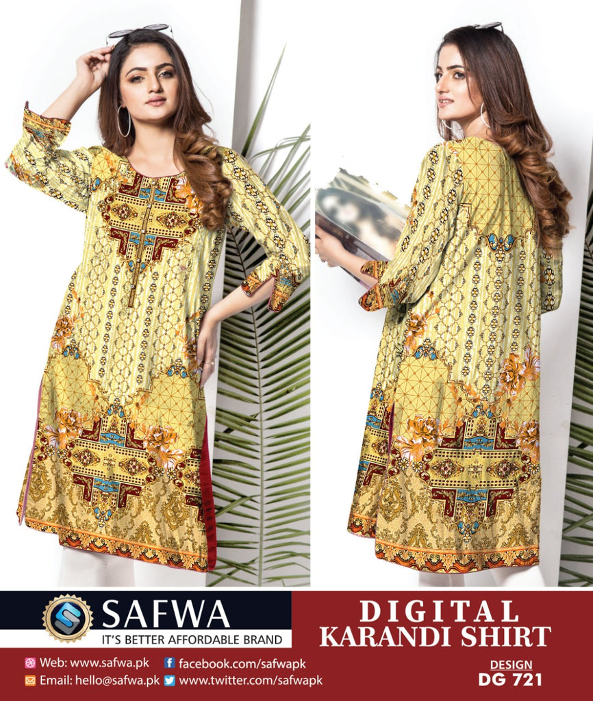 DG721 - SAFWA DIGITAL KARANDI PRINT KURTI COLLECTION -SHIRT KURTI KAMEEZ
