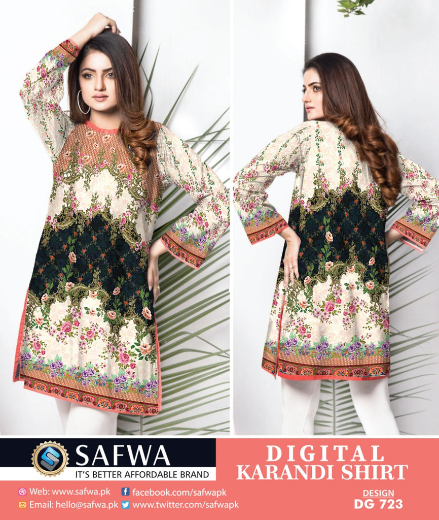 DG723 - SAFWA DIGITAL KARANDI PRINT KURTI COLLECTION -SHIRT KURTI KAMEEZ