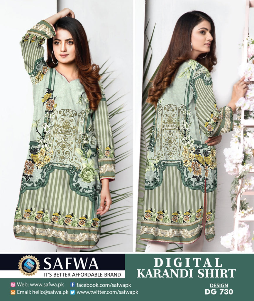 DG730- SAFWA DIGITAL KARANDI PRINT KURTI COLLECTION -SHIRT KURTI KAMEEZ
